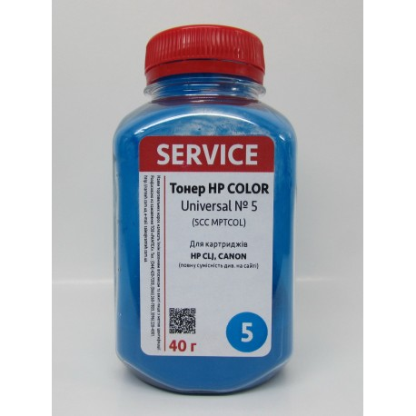 ТОНЕР HP COLOR LJ UNIVERSAL №5, ФЛАКОН, 40 Г, СИНИЙ, SERVICE, (SCC, MPTCOL)