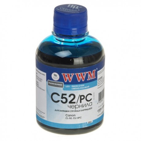 ЧЕРНИЛА CANON CL-52, ФОТО, СИНИЕ, (200 ГР, C52/PC), WWM