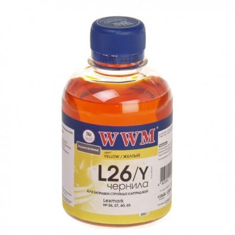 ЧЕРНИЛА LEXMARK 10N0026/10N0227 ЖЕЛТЫЙ, (200 ГР, L26Y), WWM